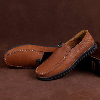 ZEACAVA Men Casual Business Mocassins à semelle souple à la main - BRUN 43