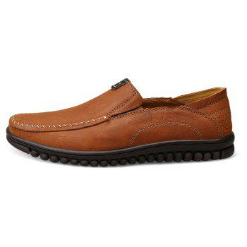 ZEACAVA Men Casual Business Mocassins à semelle souple à la main - BRUN 45
