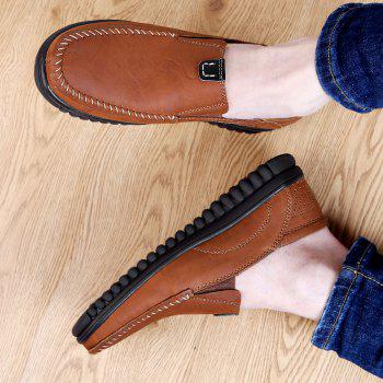 ZEACAVA Men Casual Business Handmade Soft Sole Flat Loafers - BROWN 47
