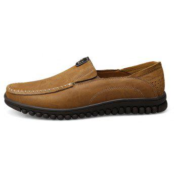 ZEACAVA Men Casual Business Handmade Soft Sole Flat Loafers - KHAKI 40