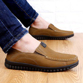 ZEACAVA Men Casual Business Handmade Soft Sole Flat Loafers - KHAKI 43