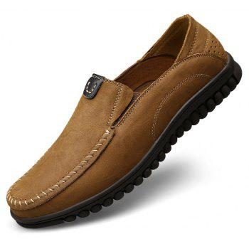 ZEACAVA Men Casual Business Mocassins à semelle souple à la main - Kaki 46
