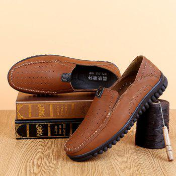 ZEACAVA Men Casual Business Mocassins à semelle souple à la main - Brun C Style 39