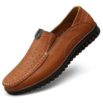 ZEACAVA Men Casual Business Mocassins à semelle souple à la main - Brun C Style 40
