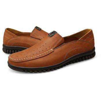 ZEACAVA Men Casual Business Handmade Soft Sole Flat Loafers - BROWN C STYLE 45