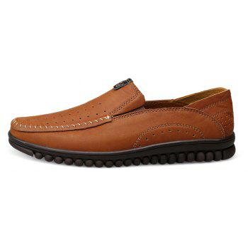 ZEACAVA Men Casual Business Handmade Soft Sole Flat Loafers - BROWN C STYLE 47
