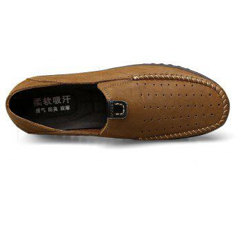 ZEACAVA Men Casual Business Handmade Soft Sole Flat Loafers - LIGHT BROWN 47
