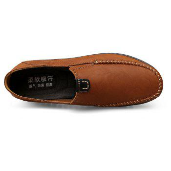 ZEACAVA Men Casual Business Handmade Soft Sole Flat Loafers - BROWN 39