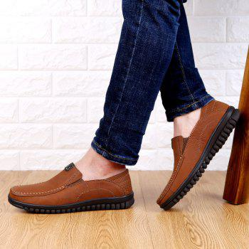 ZEACAVA Men Casual Business Handmade Soft Sole Flat Loafers - BROWN 41