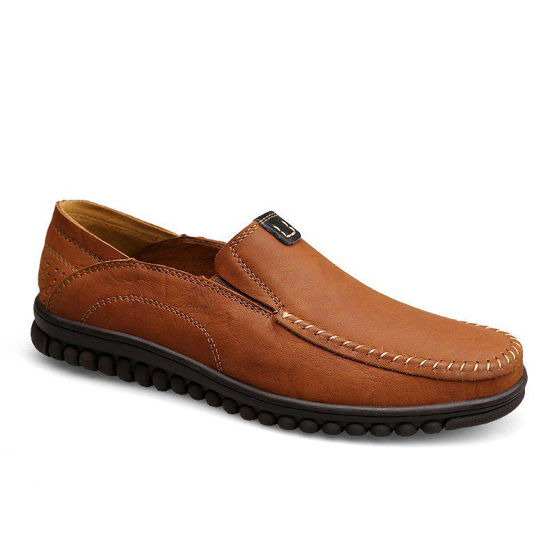 ZEACAVA Men Casual Business Mocassins à semelle souple à la main - Brun 42