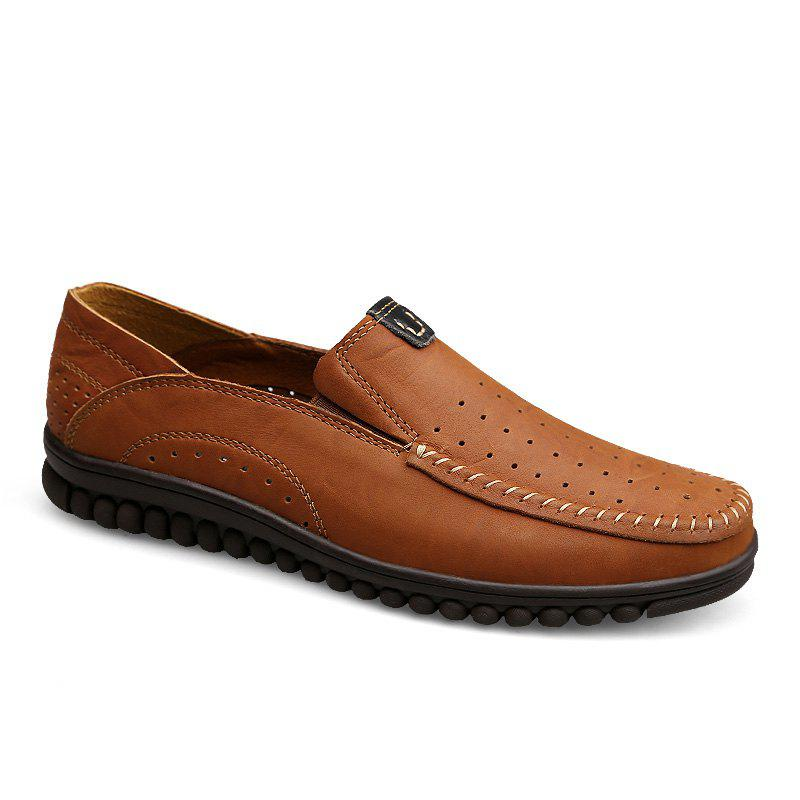 ZEACAVA Men Casual Business Handmade Soft Sole Flat Loafers - BROWN C STYLE 44