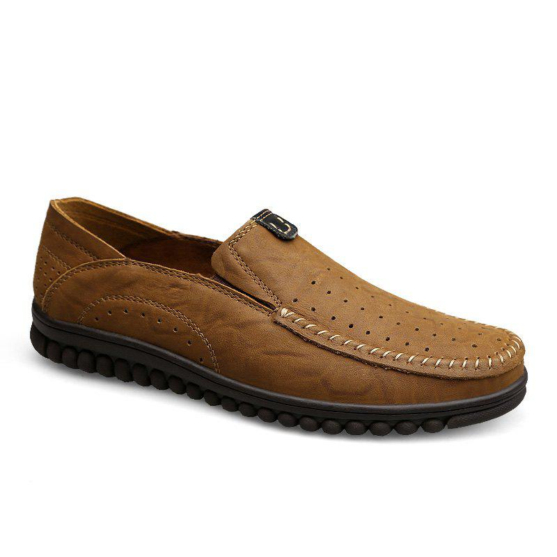 ZEACAVA Men Casual Business Handmade Soft Sole Flat Loafers - LIGHT BROWN 39