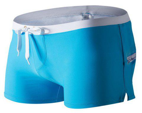 Fashion Style Men's Trunk Rapid Splice Square Solid Jammer Shorts Jammers - BLUE 2XL