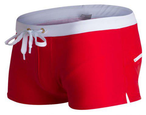Fashion Style Hommes Tronc Rapide Splice Carré Solide Jammer Shorts Jammers - Rouge XL