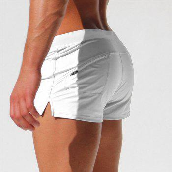 Fashion Style Men's Trunk Rapid Splice Square Solid Jammer Shorts Jammers - WHITE M