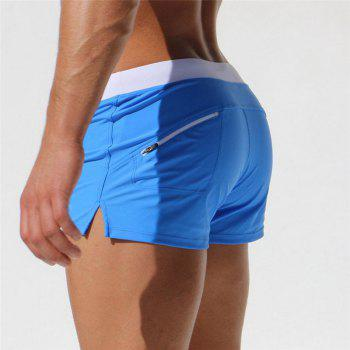 Fashion Style Men's Trunk Rapid Splice Square Solid Jammer Shorts Jammers - BLUE L