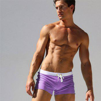 Fashion Style Men's Trunk Rapid Splice Square Solid Jammer Shorts Jammers - PURPLE L