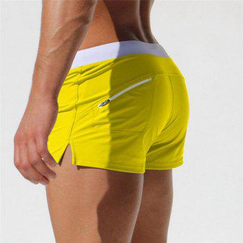 Fashion Style Men's Trunk Rapid Splice Square Solid Jammer Shorts Jammers - YELLOW XL
