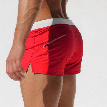 Fashion Style Men's Trunk Rapid Splice Square Solid Jammer Shorts Jammers - RED XL