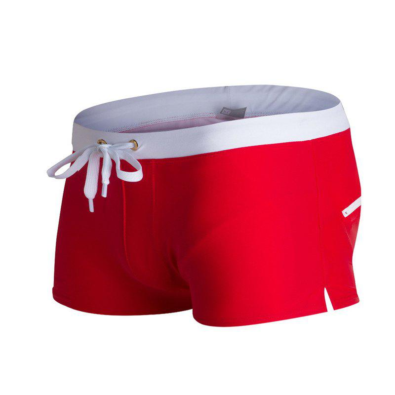 Fashion Style Men's Trunk Rapid Splice Square Solid Jammer Shorts Jammers - RED L