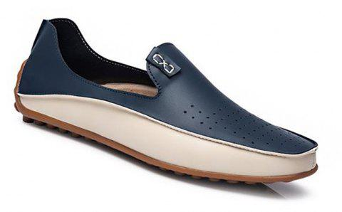 Men Large Size Color Blocking Slip Flat Casual Driving Loafers Shoes - BLUE 43
