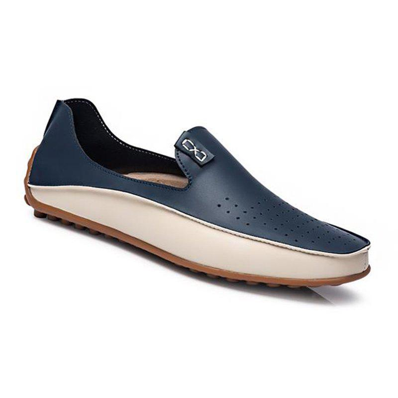 Men Large Size Color Blocking Slip Flat Casual Driving Loafers Shoes