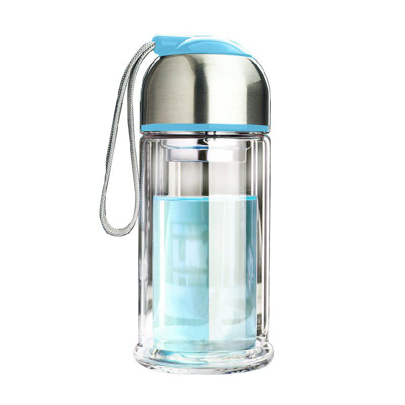 Portable Double Layer Thickened Heat-Resistant Glass Vacuum Cup - BLUE 280ML