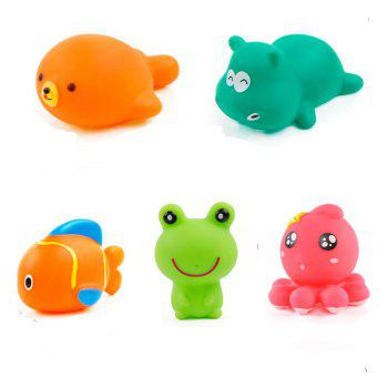 Lovely Rubber Animals Baby Bath Toys Floating Squeeze Make Sound 1 Set - BLUE