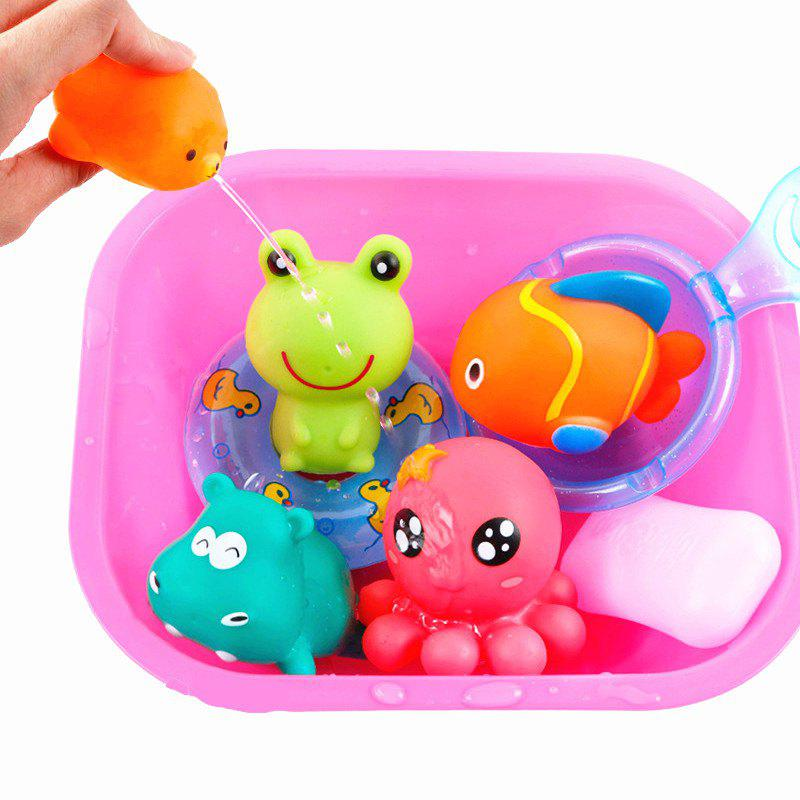 Lovely Rubber Animals Baby Bath Toys Floating Squeeze Make Sound 1 Set - PINK