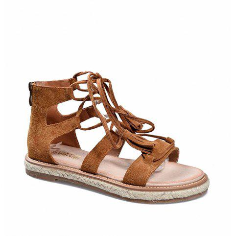 8456b3acc30 Women s Gladiator Sandals Hollow Out Lace Up Design Flat Sole Trendy Casual  Shoes - BROWN 36