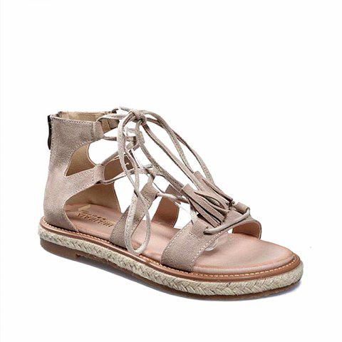 b290965b9dd Women s Gladiator Sandals Hollow Out Lace Up Design Flat Sole Trendy Casual  Shoes - APRICOT 36