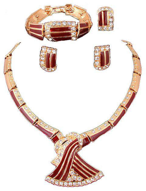 Gold-plated Fashionable Dovetail Necklace Earrings - RED