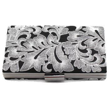 Vintage Black Embroidered Flowers Wedding Party Clutch  Ladies Handbag Chain Purse - SILVER HORIZONTAL
