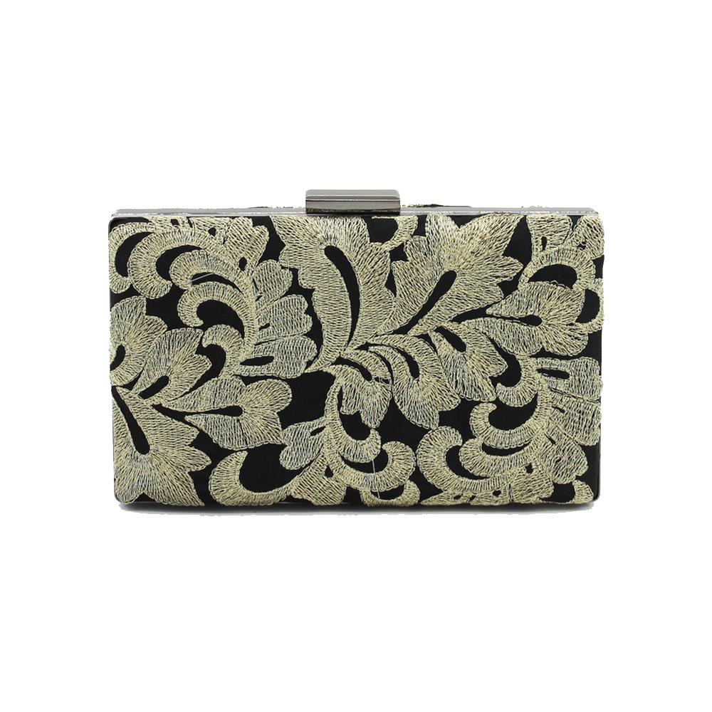 Vintage Black Embroidered Flowers Wedding Party Clutch  Ladies Handbag Chain Purse - GOLD HORIZONTAL