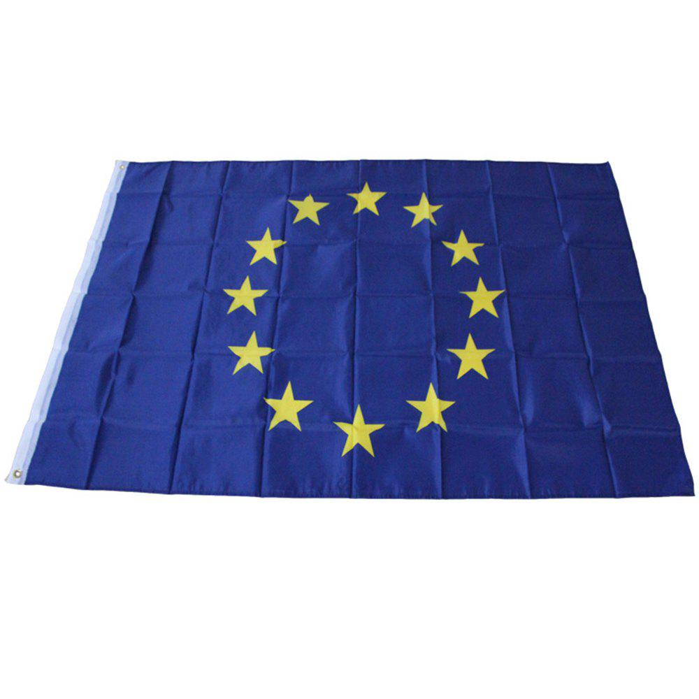Hot Blue 90 x 150 Cm EU Flag Banner Event Festival Parade Celebration Outdoor Europe - BLUE