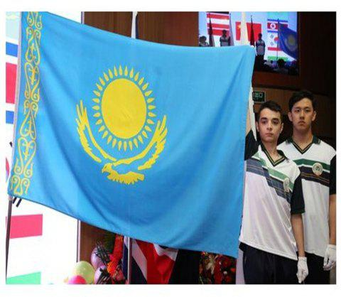 High Quality 90X150 Cm Kazakhstan Flag Polyester Festival Home Super Poly Indoor and Outdoor Decoration - COLORMIX