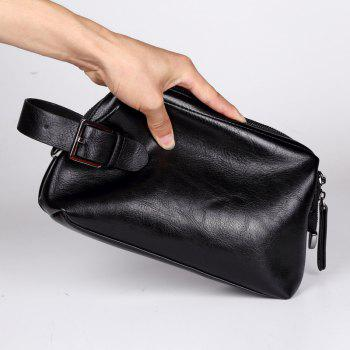 Casual Handbag Men's Business Hand Caught Wallet Leather Korean Phone Bag Coin Pouch - BLACK