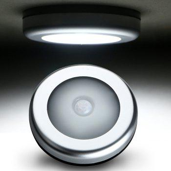 6LED Circular Smart Body Induction Cabinet Toilet Night Light - SILVER WHITE LIGHT
