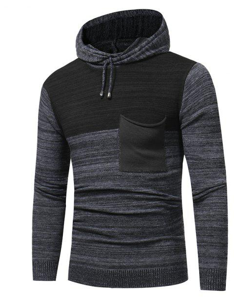 2018 New Foreign Trade Men Fashion Spell Hooded Long-Sleeved Sweater - CARBON GRAY XL