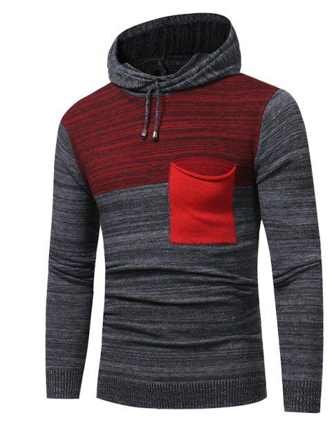 2018 New Foreign Trade Men Fashion Spell Hooded Long-Sleeved Sweater - RED M