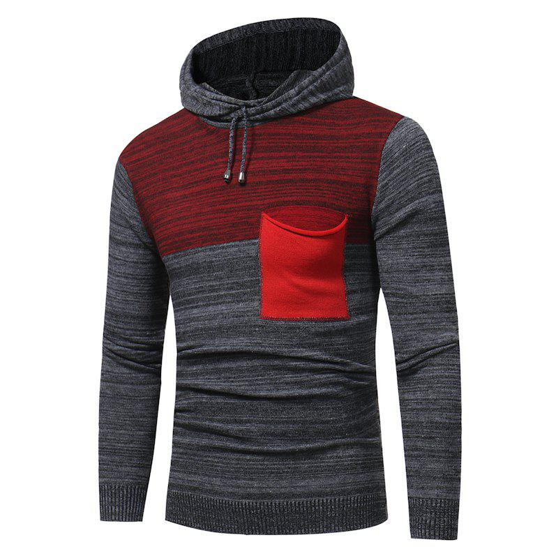 2018 New Foreign Trade Men Fashion Spell Hooded Long-Sleeved Sweater - RED XL