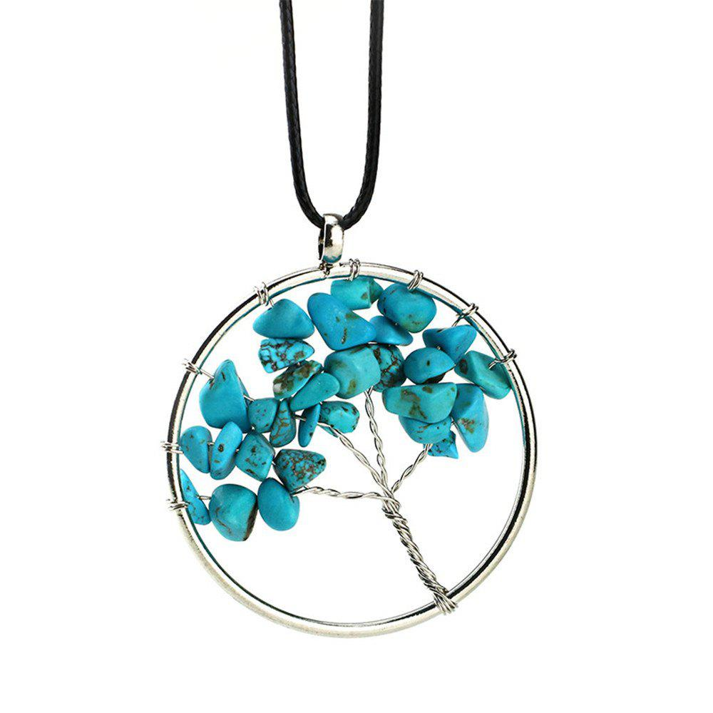 Turquoise Gravel Round Creative Winding Life Tree Necklace - IVY