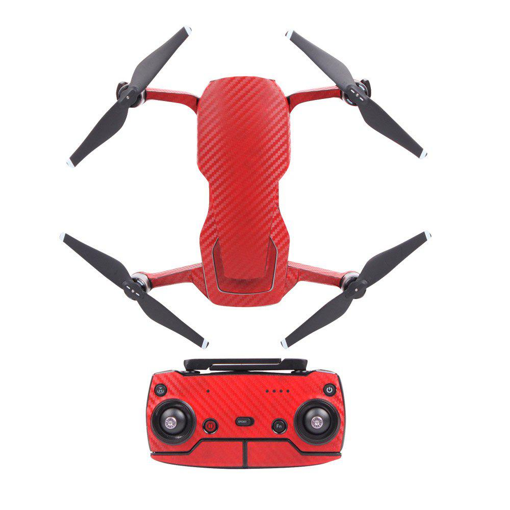 Waterproof PVC Carbon Grain Graphic Stickers Full Set Skin Decals for DJI MAVIC AIR - RED
