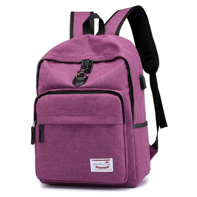 Women's Shoulder Bag Fashion and Leisure Belt USB Charging Socket College Wind Outdoor Sports Backpack Male Bag - PURPLE VERTICAL