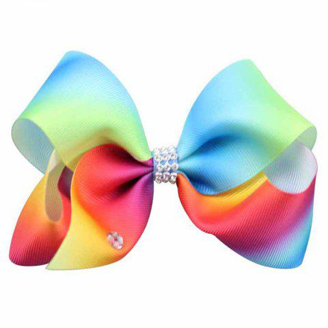 Rainbow Gradient Color Rib with Girls Bow Hairpin Hot Drilling Children Hair Accessories - COLORFUL 1PC
