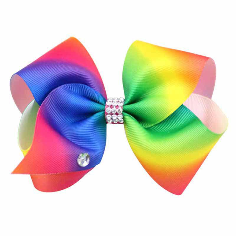 Rainbow Gradient Color Rib with Girls Bow Hairpin Hot Drilling Children Hair Accessories - FLORAL 1PC