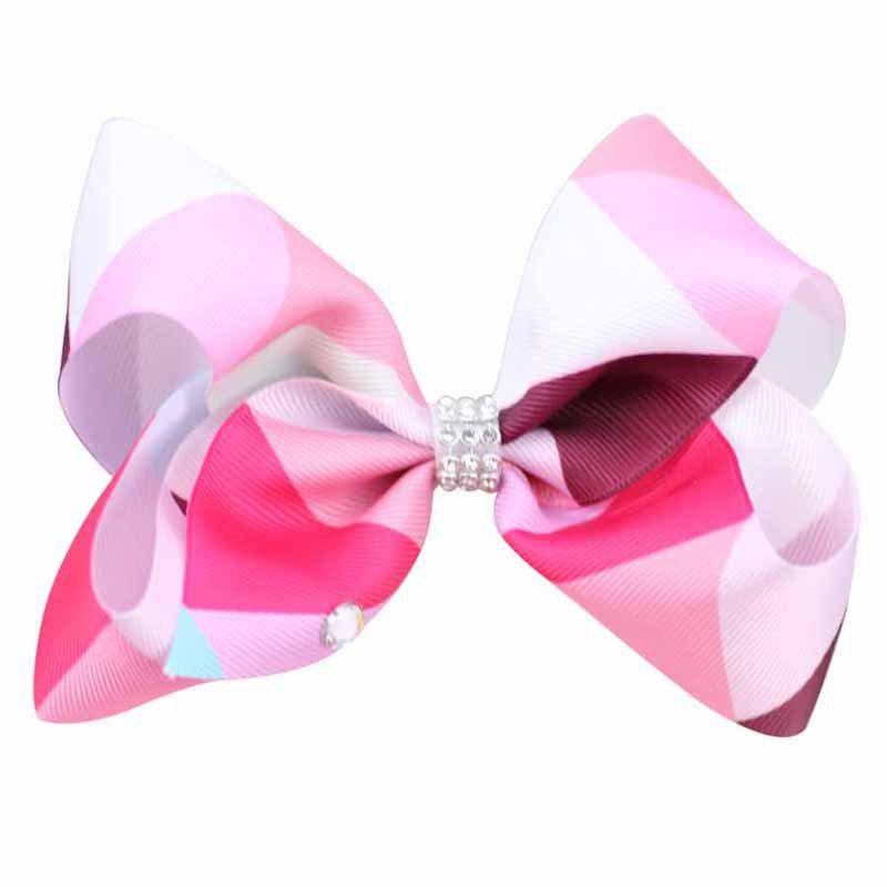 Rainbow Gradient Color Rib with Girls Bow Hairpin Hot Drilling Children Hair Accessories - ROSE RED 1PC