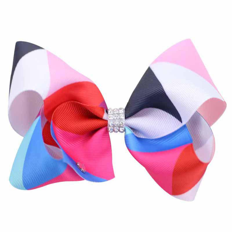 Rainbow Gradient Color Rib with Girls Bow Hairpin Hot Drilling Children Hair Accessories - RED 1PC