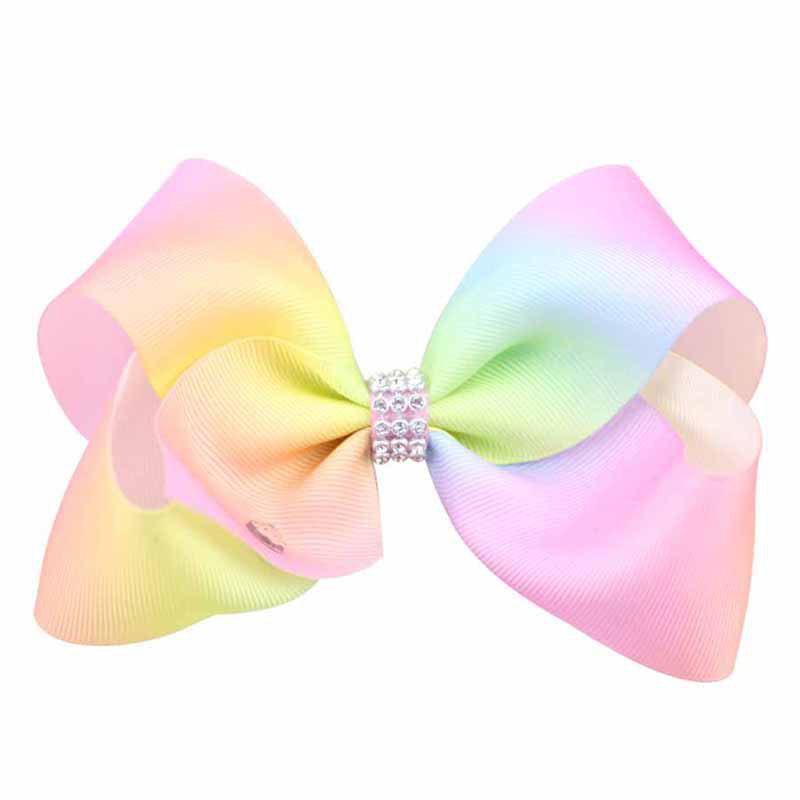 Rainbow Gradient Color Rib with Girls Bow Hairpin Hot Drilling Children Hair Accessories - LIGHT PINK 1PC