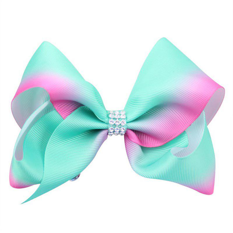 Rainbow Gradient Color Rib with Girls Bow Hairpin Hot Drilling Children Hair Accessories - MOSS 1PC
